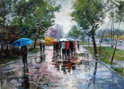 下雨的马路风景图片