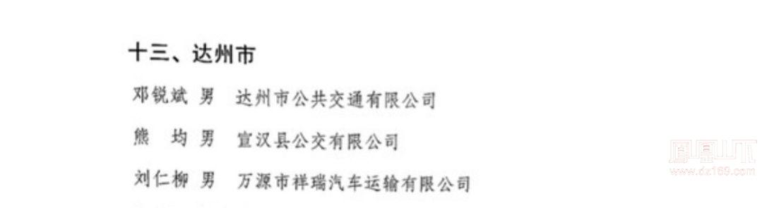 """四川""""最美公交司机""""名单出炉, 达州3人上榜"""