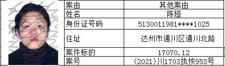 """达川区法院""""执行大会战""""专项执行行动失信被执行人曝光名单(三)上篇"""