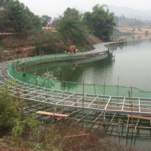 莲花湖公园二期工程水上栈道下月底竣工
