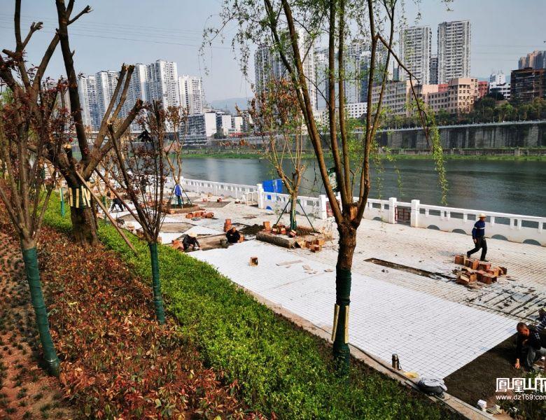达城洲河花园前的滨河游园将于4月正式开放